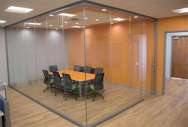 Conference-room-full-glass-installation-with-sliding-door-View-Series